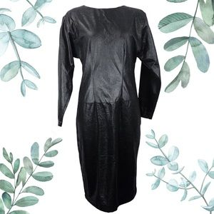 Vintage Avant Garde Black Faux Leather Dress